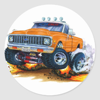 1970-72 Chevy CK1500 Orange Truck Classic Round Sticker