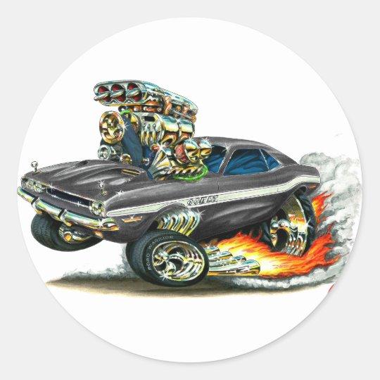 1970-72 Dodge Challenger Black Car Classic Round Sticker