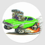 1970-72 Dodge Challenger Lime Car Round Sticker