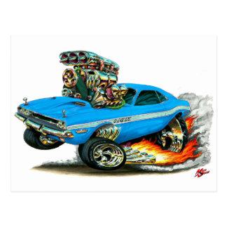 1970-72 Dodge Challenger Lt Blue Car Postcard