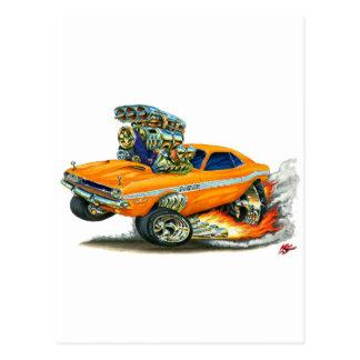 1970-72 Dodge Challenger Orange Car Postcard