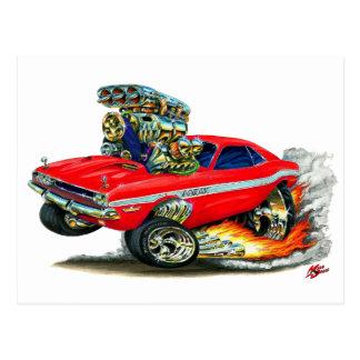 1970-72 Dodge Challenger Red Car Postcard