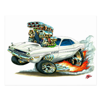 1970-72 Dodge Challenger White Car Postcard