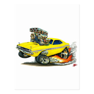1970-72 Dodge Challenger Yellow Car Postcard