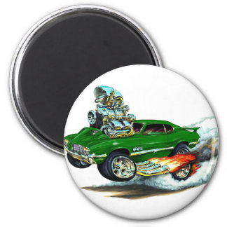 1970-72 Olds Cutlass 442 Green Car 2 Inch Round Magnet