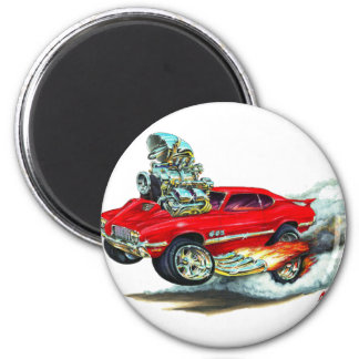 1970-72 Olds Cutlass 442 Red Car 2 Inch Round Magnet