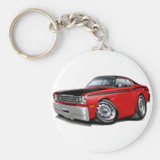 1970-74 Duster 340 Red Car Basic Round Button Keychain