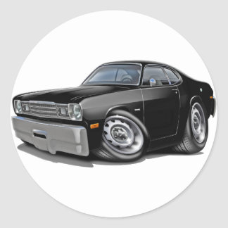 1970-74 Duster Black Car Classic Round Sticker