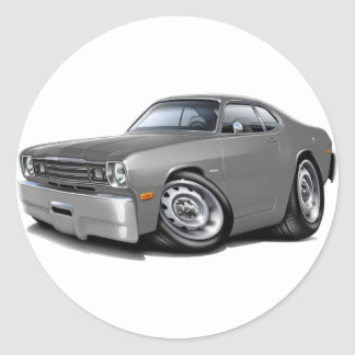 1970-74 Duster Grey Car Classic Round Sticker
