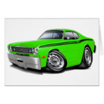 1970-74 Duster Lime-Black Car Greeting Card