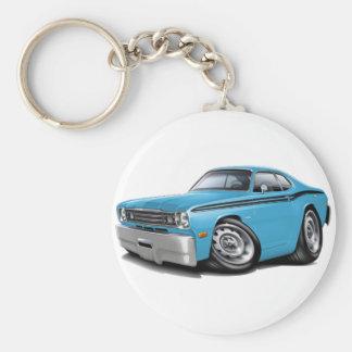 1970-74 Duster Lt Blue-Black Car Basic Round Button Keychain