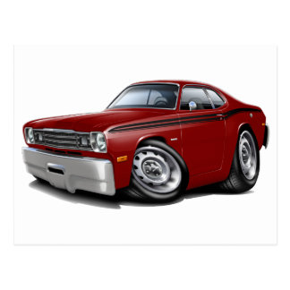 1970-74 Duster Maroon-Black Car Post Card
