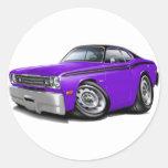 1970-74 Duster Purple-Black Top Car Classic Round Sticker