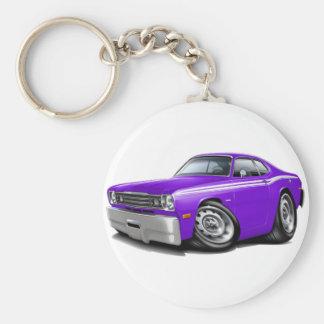 1970-74 Duster Purple-White Car Basic Round Button Keychain