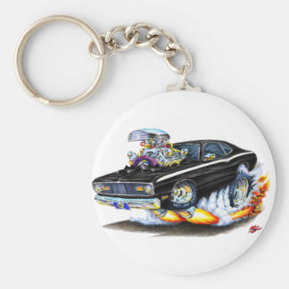 1970-74 Plymouth Duster Black Car Basic Round Button Keychain