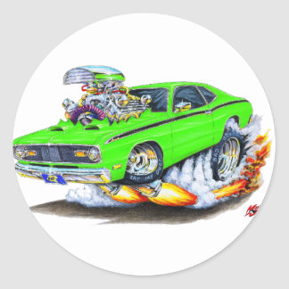 1970-74 Plymouth Duster Lime Car Classic Round Sticker
