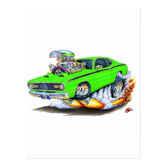1970-74 Plymouth Duster Lime Car Postcard