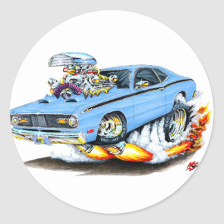 1970-74 Plymouth Duster Lt Blue Car Classic Round Sticker