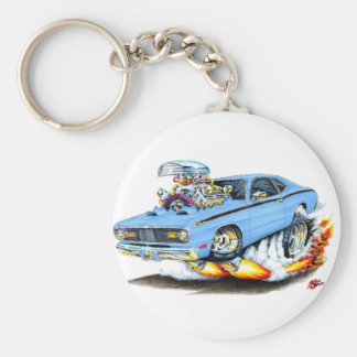 1970-74 Plymouth Duster Lt Blue Car Basic Round Button Keychain