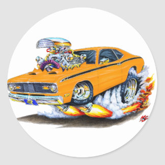 1970-74 Plymouth Duster Orange Car Classic Round Sticker