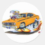 1970-74 Plymouth Duster Orange Car Classic Round Sticker