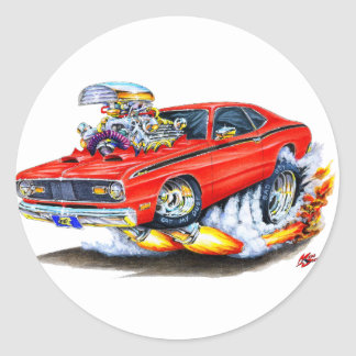 1970-74 Plymouth Duster Red Car Classic Round Sticker