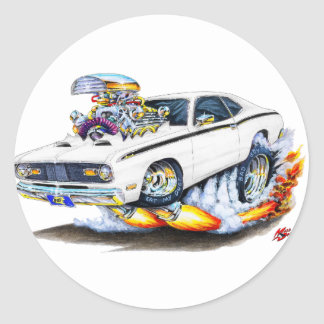 1970-74 Plymouth Duster White Car Classic Round Sticker