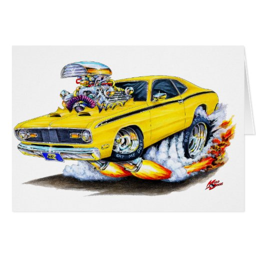 1970-74 Plymouth Duster Yellow Car Greeting Card
