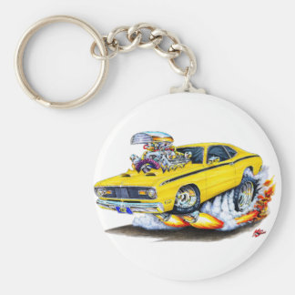 1970-74 Plymouth Duster Yellow Car Basic Round Button Keychain