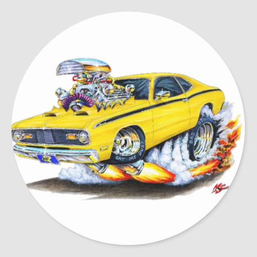 1970-74 Plymouth Duster Yellow Car Classic Round Sticker
