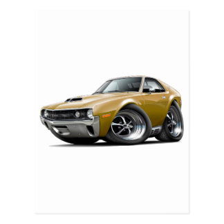 1970 AMX Gold Car Postcard