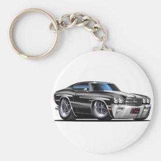 1970 Chevelle Black-White Car Basic Round Button Keychain
