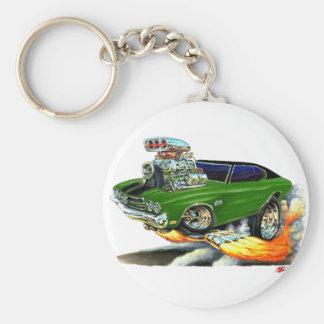 1970 Chevelle Green-Black Car Basic Round Button Keychain
