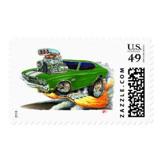 1970 Chevelle Green-White Car Postage