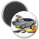 1970 Chevelle Grey-Black Top Car 2 Inch Round Magnet