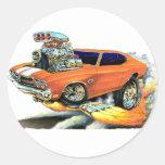 1970 Chevelle Orange-White Car Classic Round Sticker