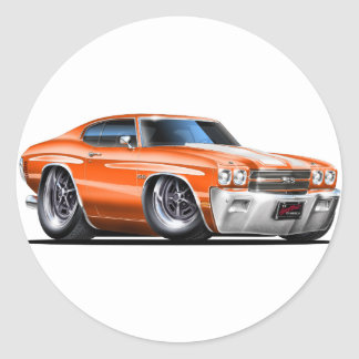 1970 Chevelle Orange-White Car Classic Round Sticker