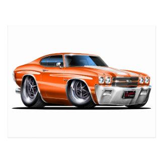 1970 Chevelle Orange-White Car Postcard