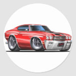 1970 Chevelle Red-Black Car Classic Round Sticker