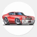 1970 Chevelle Red-Black Car Round Sticker