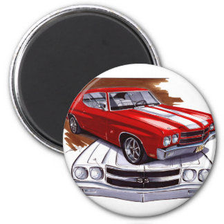 1970 Chevelle Red-White Car 2 Inch Round Magnet