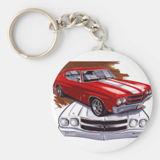 1970 Chevelle Red-White Car Basic Round Button Keychain
