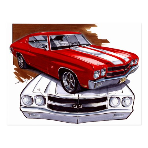 1970 Chevelle Red-White Car Postcard