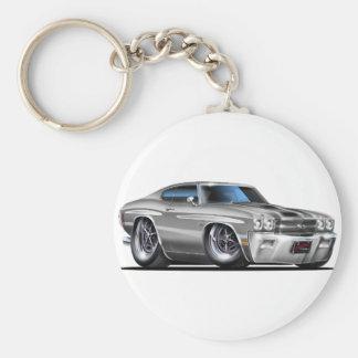 1970 Chevelle Silver-Black Car Keychain