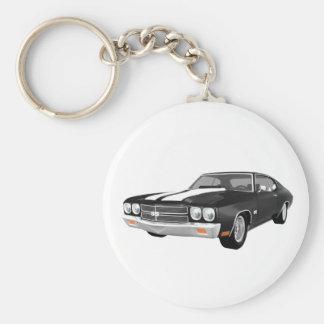 1970 Chevelle SS: Black Finish: Basic Round Button Keychain