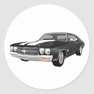1970 Chevelle SS: Black Finish: Classic Round Sticker