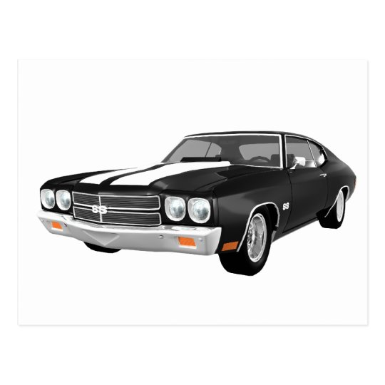 1970 Chevelle SS: Black Finish: Postcard