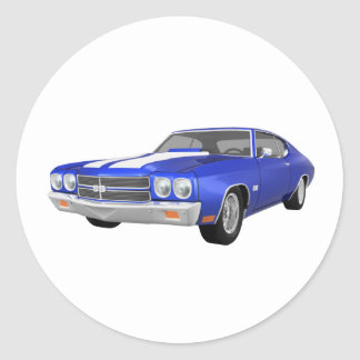 1970 Chevelle SS: Blue Finish: Classic Round Sticker