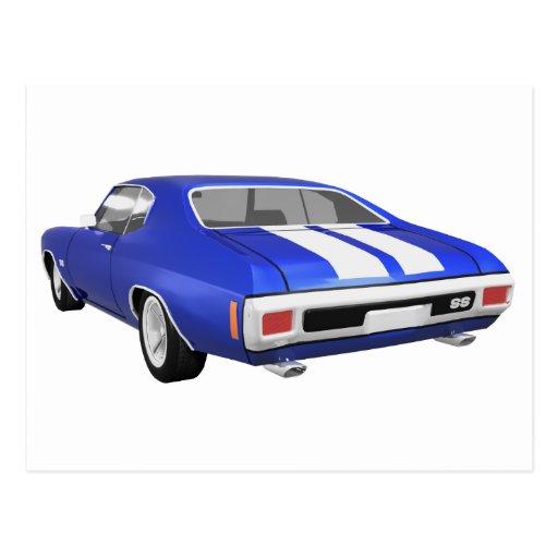1970 Chevelle SS: Blue Finish: Postcard