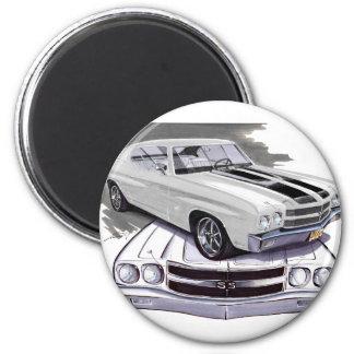 1970 Chevelle White-Black Car 2 Inch Round Magnet